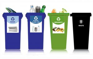 recycling and waste bins for sorting of waste and recyclable materials helps improve diversion rate